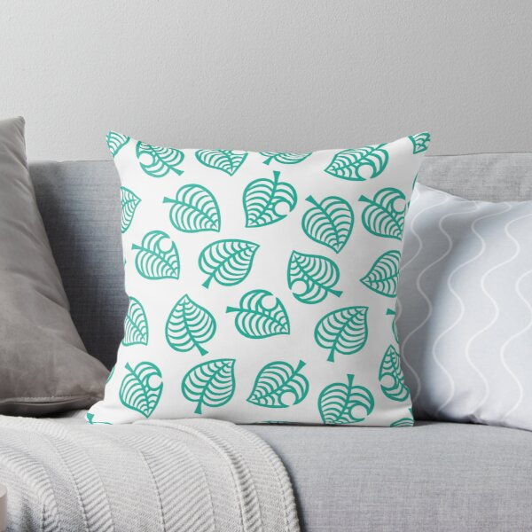 Animal Crossing New Horizons Leaf Pattern Throw Pillow