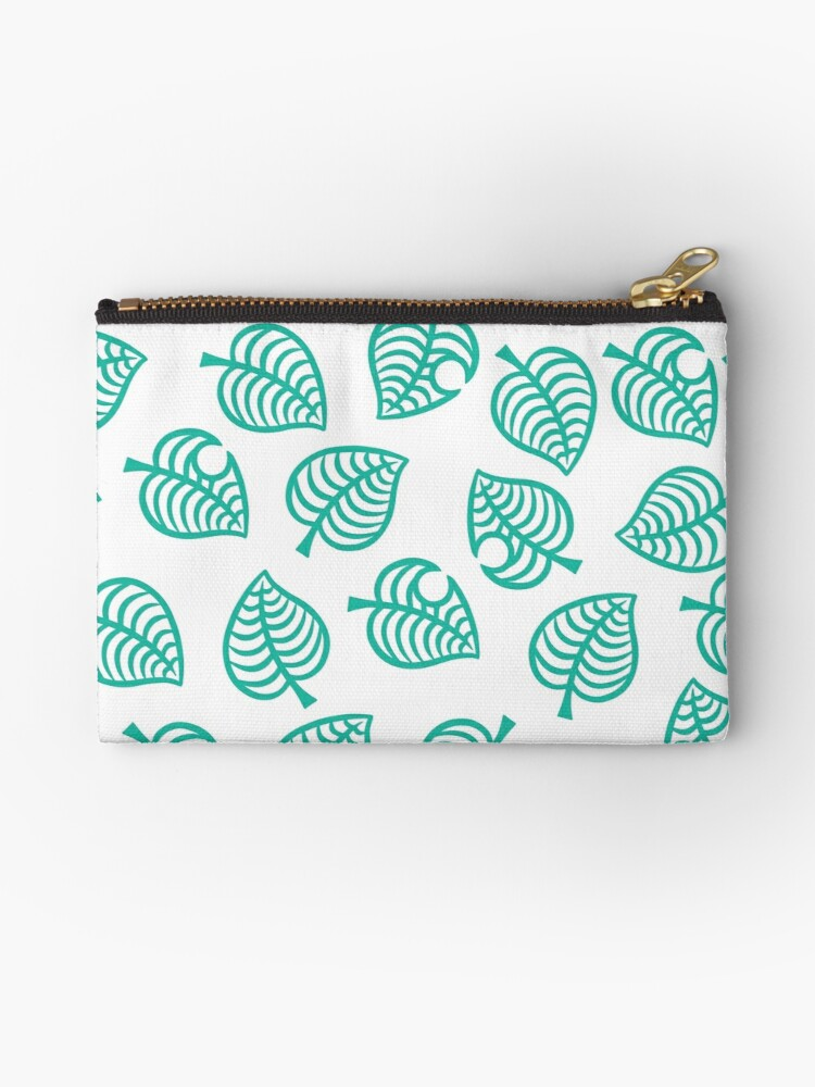 Animal Crossing New Horizons Leaf Pattern Zipper Pouch By