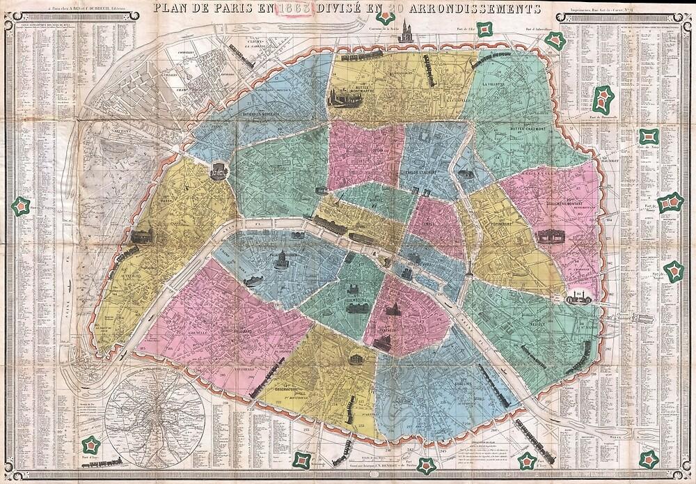 Vintage Map of Paris France (1863) by BravuraMedia