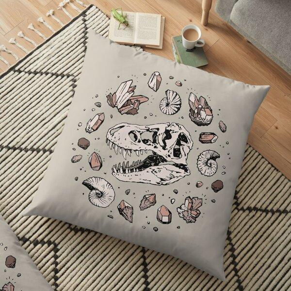 Geo-rex Vortex   Rose Quartz   Dinosaur Skull Fossil Art Floor Pillow