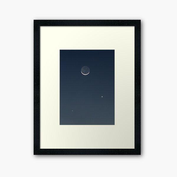 Moon, Mercury & Venus in conjunction Framed Art Print