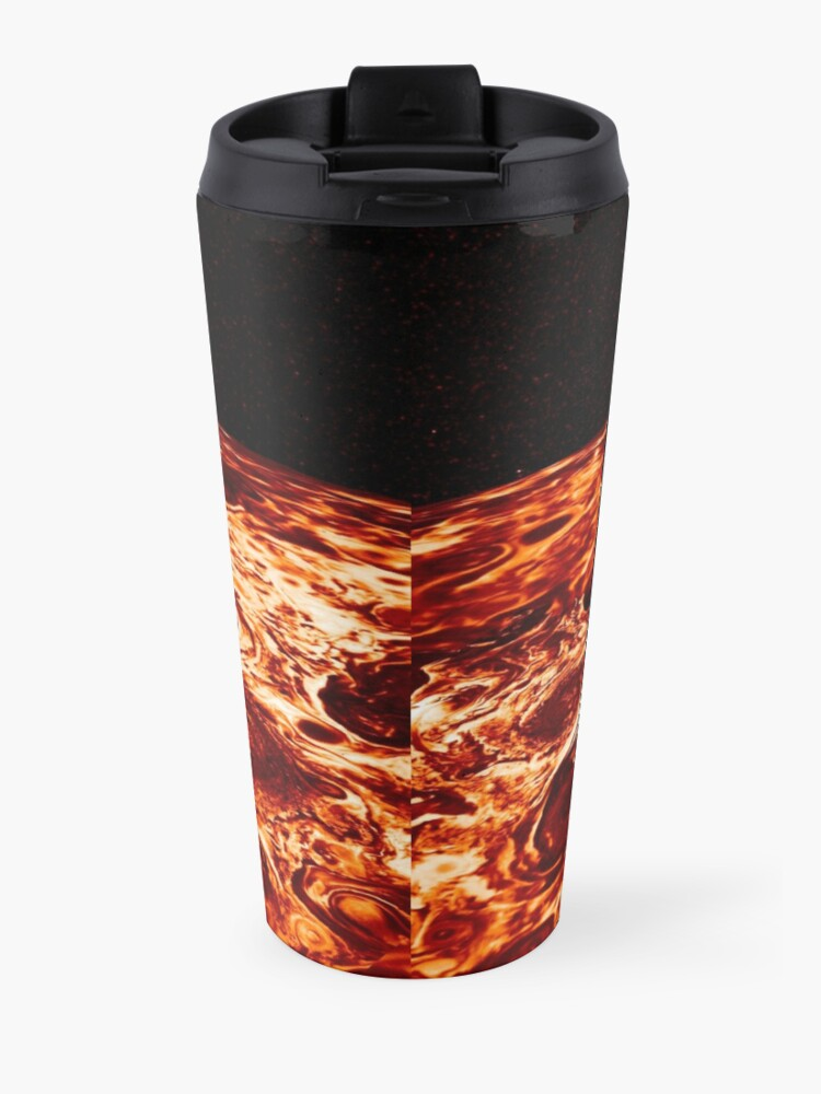 Alternate view of JIRAM imagery of Jupiter's north pole and its hypnotic, seemingly stable arrangement of eight cyclones around a central, large vortex Travel Mug