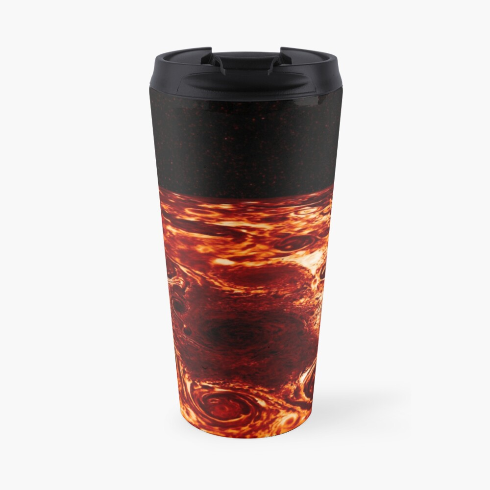JIRAM imagery of Jupiter's north pole and its hypnotic, seemingly stable arrangement of eight cyclones around a central, large vortex Travel Mug