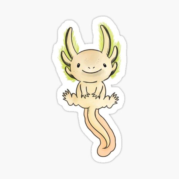 Golden Axolotl- Watercolor Vector Sticker