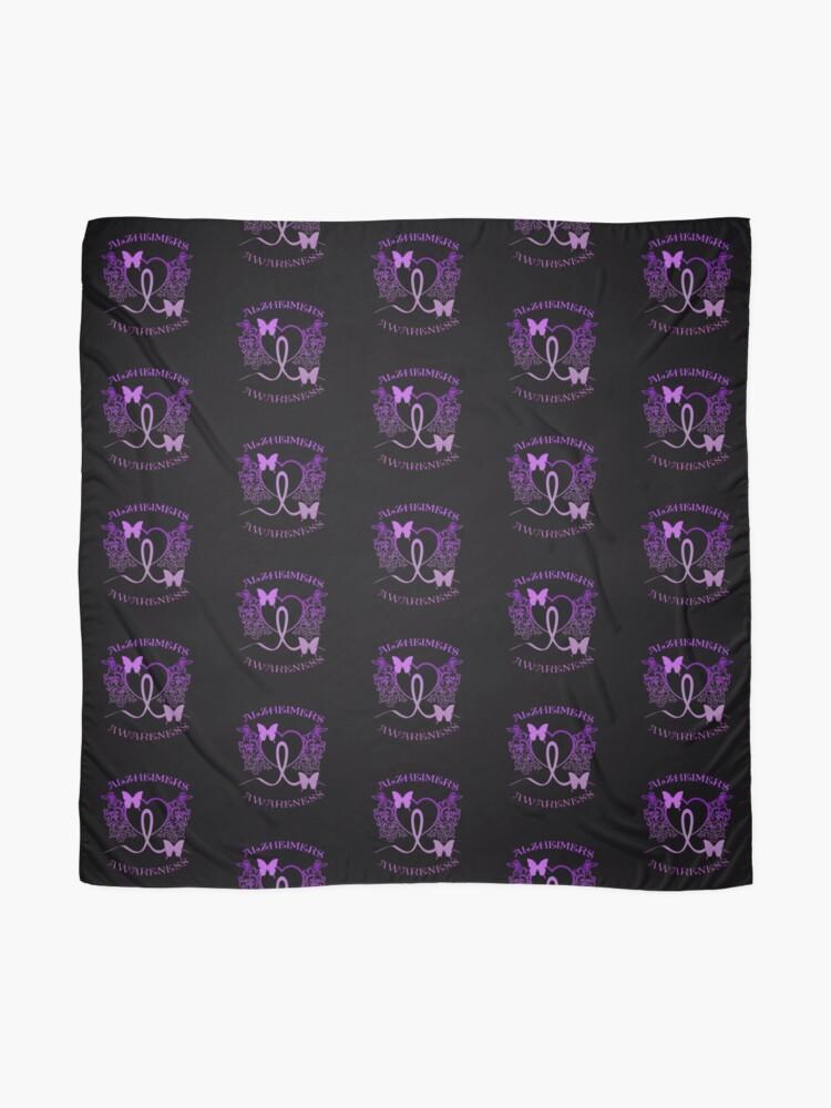 Alternate view of Alzheimers Awareness Purple Butterflies Scarf