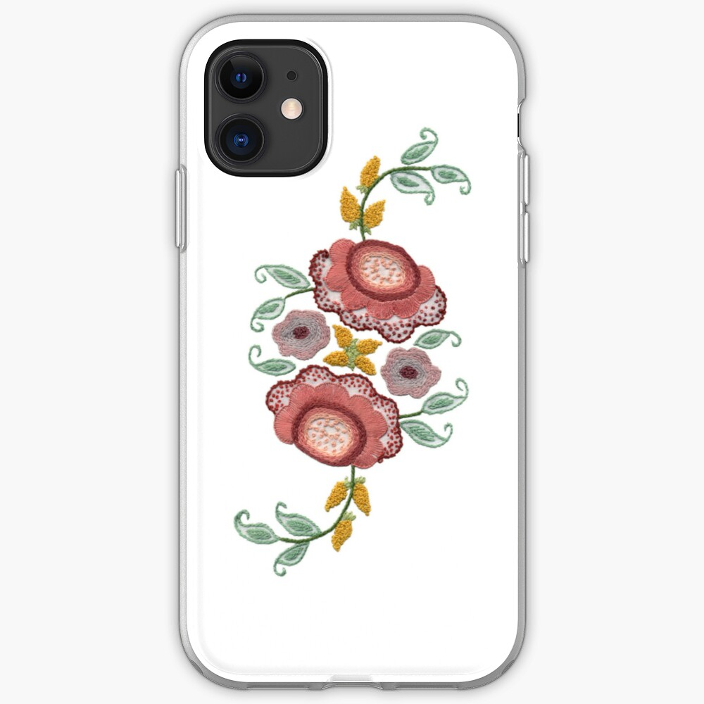 'Irish Rose' embroidery on white iPhone Case & Cover