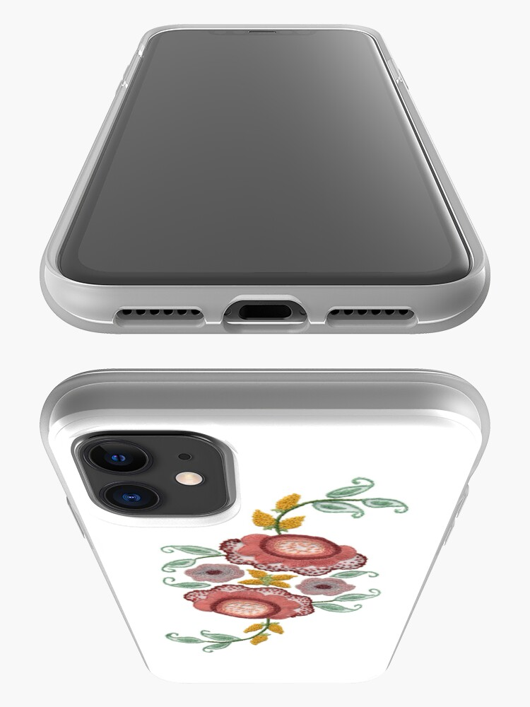 Alternate view of 'Irish Rose' embroidery on white iPhone Case & Cover