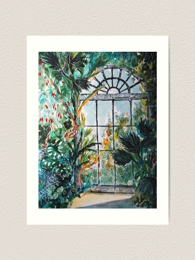 Alternate view of Greenhouse watercolor Art Print