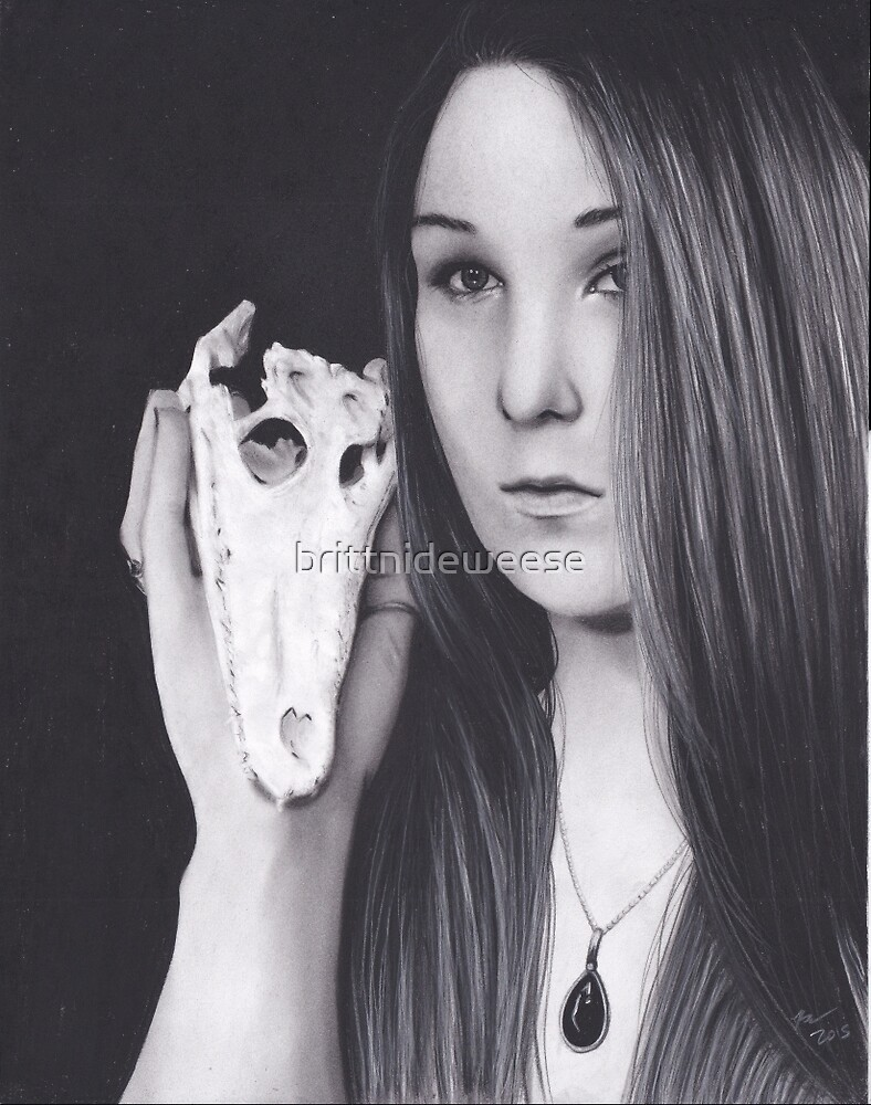 Original Realism Charcoal Drawing of Beautiful Woman with Reptile Skull by brittnideweese