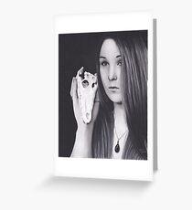 Original Realism Charcoal Drawing of Beautiful Woman with Reptile Skull Greeting Card