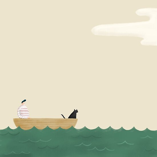 Cat man and boat by Mark Conlan