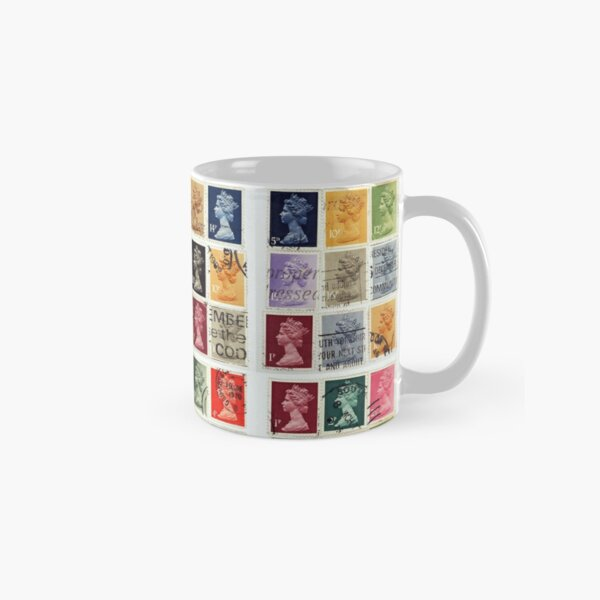 British postage stamps with a Queen Elizabeth profile. Classic Mug