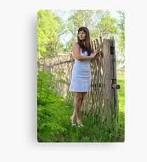 Rural scene with beauty girl. Canvas Print