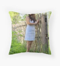 Rural scene with beauty girl. Throw Pillow