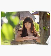 Portrait of beauty girl in nature. Poster