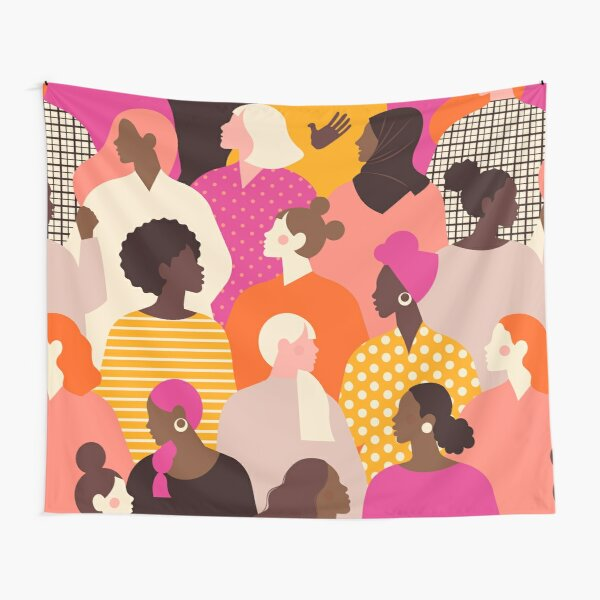 Colorful feminist pattern of women in pink tones Tapestry