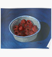 bowl of fast-disappearing raspberries Poster