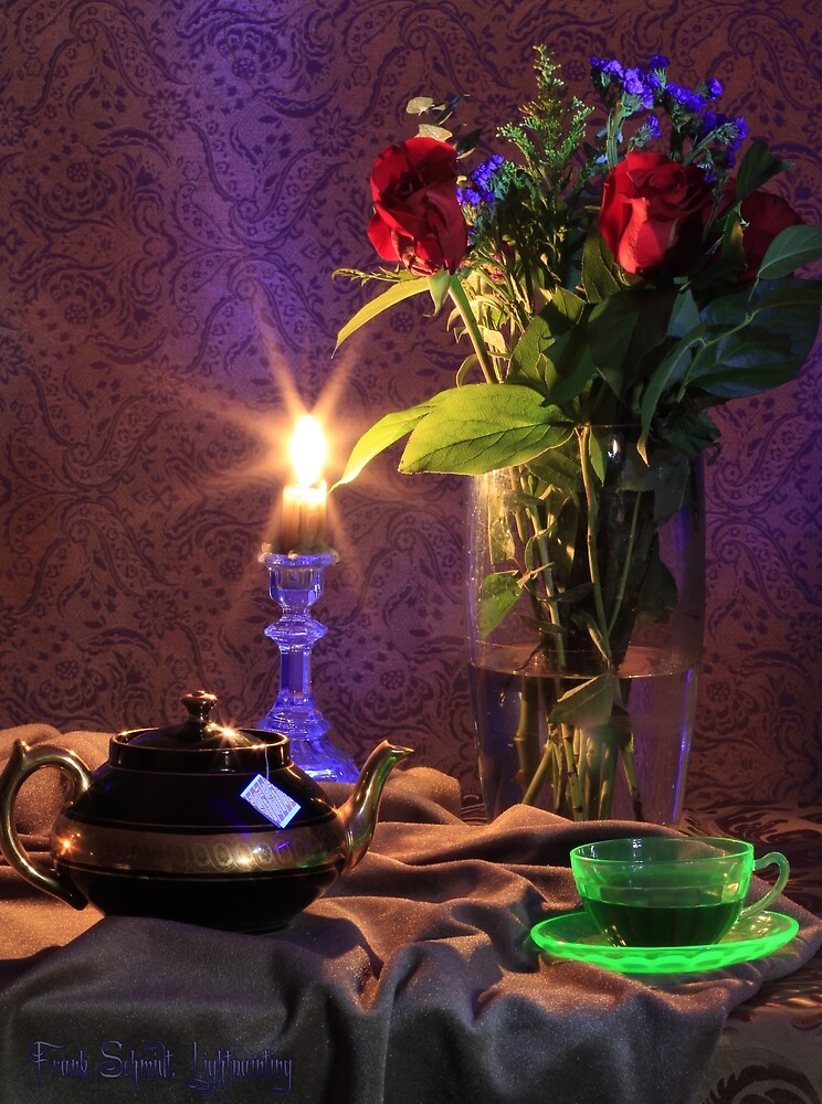 Blue Candle with flowers and green tea cup (still life) by FrankSchmidt