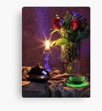 Blue Candle with flowers and green tea cup (still life) Canvas Print