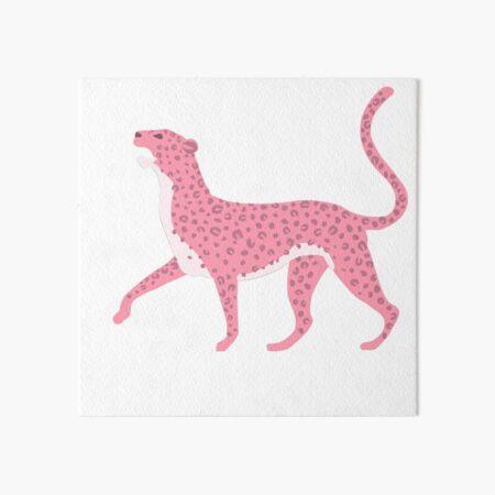 Pink Leopard Drawing Art Board Print