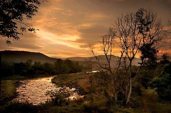 Sunset over the Umkomaas River, Kwazulu Natal, South Africa by Sharon Bishop