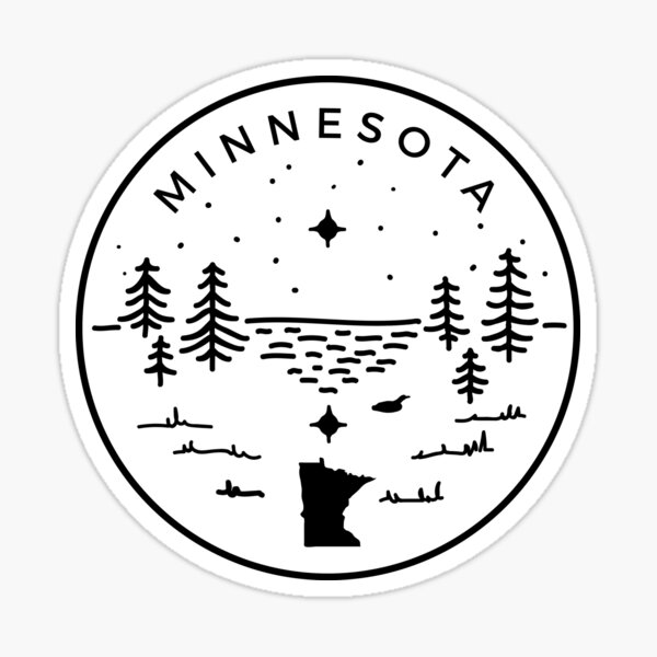 Minnesota Badge — North Star (Black) Sticker