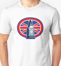 London Big Ben Clock Tower British Flag  T-Shirt