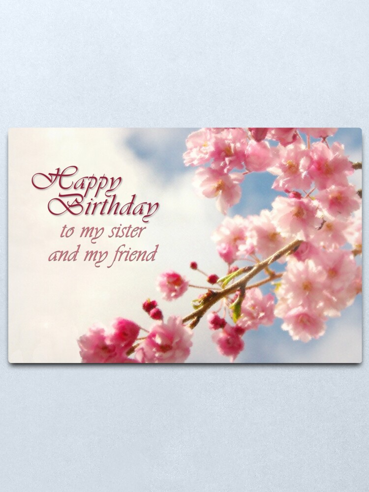 """""""happy birthday sister card"""" metal printtracelle"""