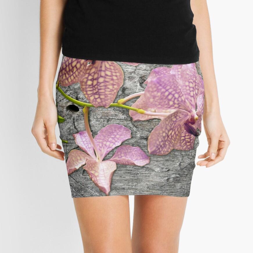 Purple Vanda orchid hybrid on Wood Mini Skirt