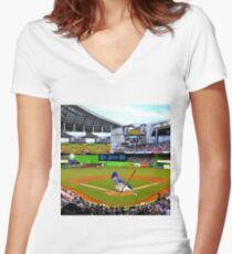 GO JAYS GO BLUEJAY BASEBALL APPAREL-PILLOW-JOURNAL-TOTE BAG-SCARF-PICTURE-ECT.. Women's Fitted V-Neck T-Shirt