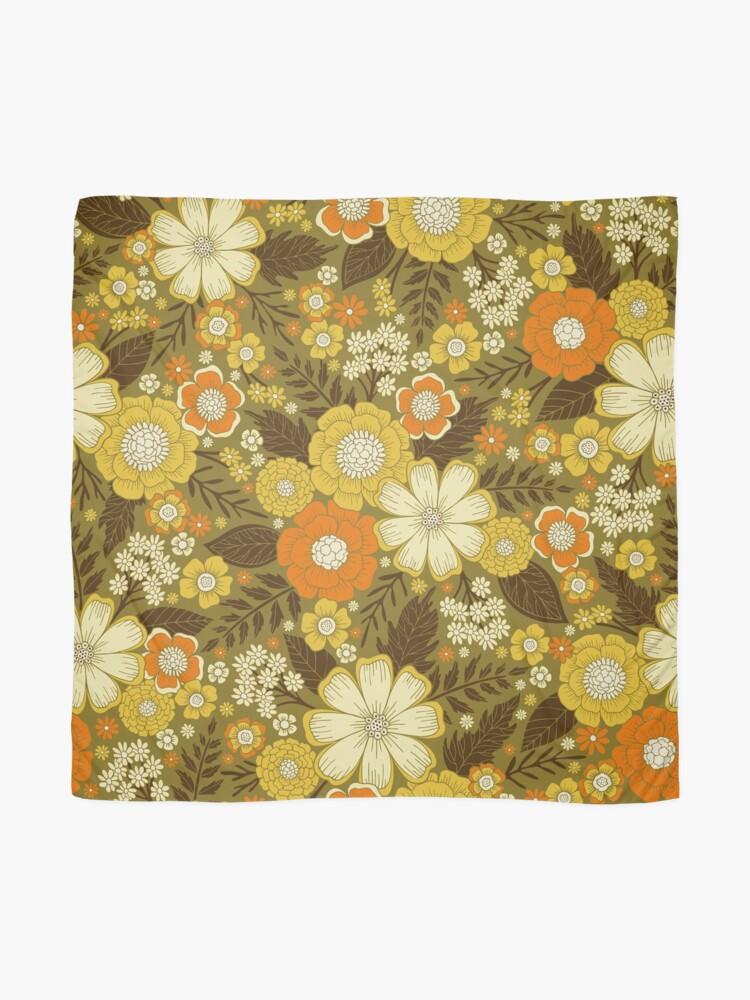 Alternate view of 1970s Retro/Vintage Floral Pattern Scarf