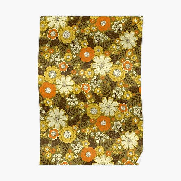 1970s Retro/Vintage Floral Pattern Poster