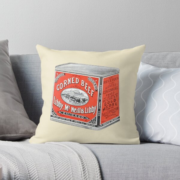 Classic Corned Beef Vintage Illustration Throw Pillow