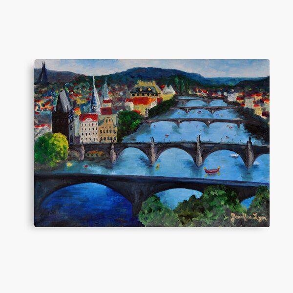 The View over Prague's Five Bridges Canvas Print