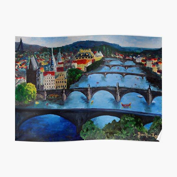 The View over Prague's Five Bridges Poster
