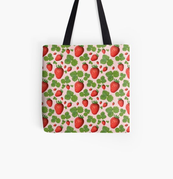 Spring Strawberries All Over Print Tote Bag