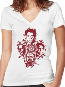 Supernatural Portraits in blood Women's Fitted V-Neck T-Shirt