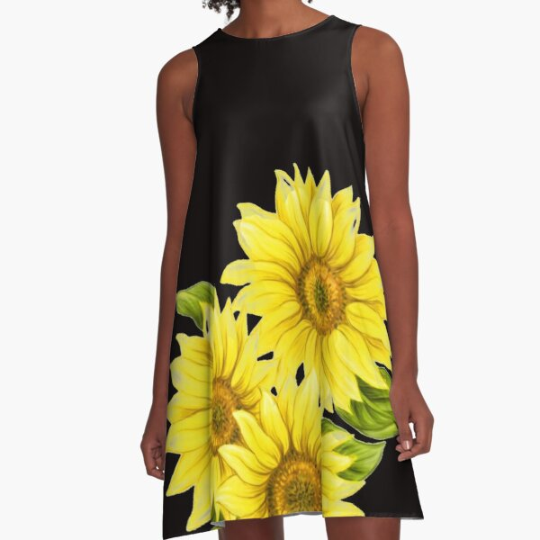 Painted Yellow Sunflower A-Line Dress