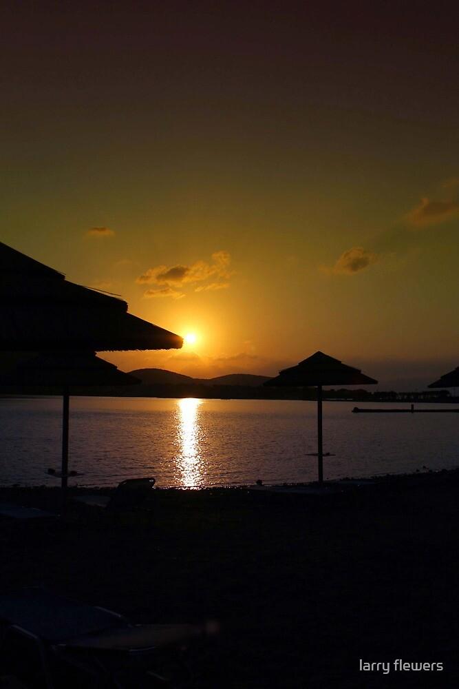 Beach Umbrellas at Sunrise  by larry flewers