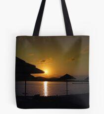 Beach Umbrellas at Sunrise  Tote Bag