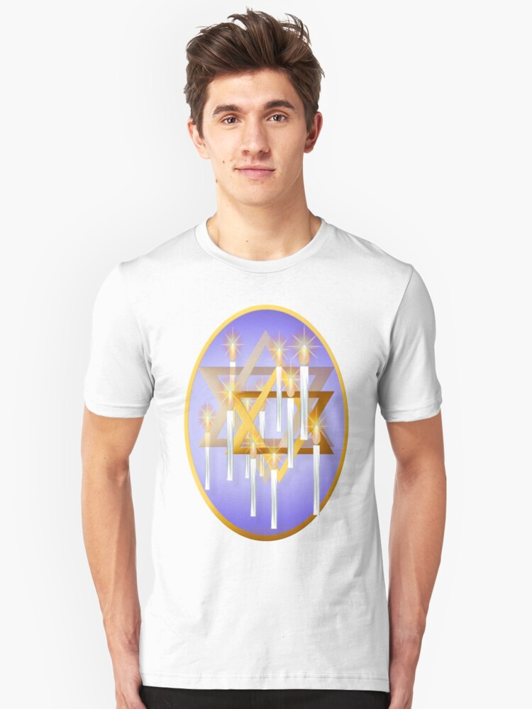 Nine White Candles and Star Oval Unisex T-Shirt Front