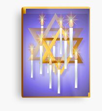 Nine White Candles and Star Metal Print
