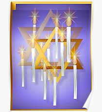 Nine White Candles and Star Poster