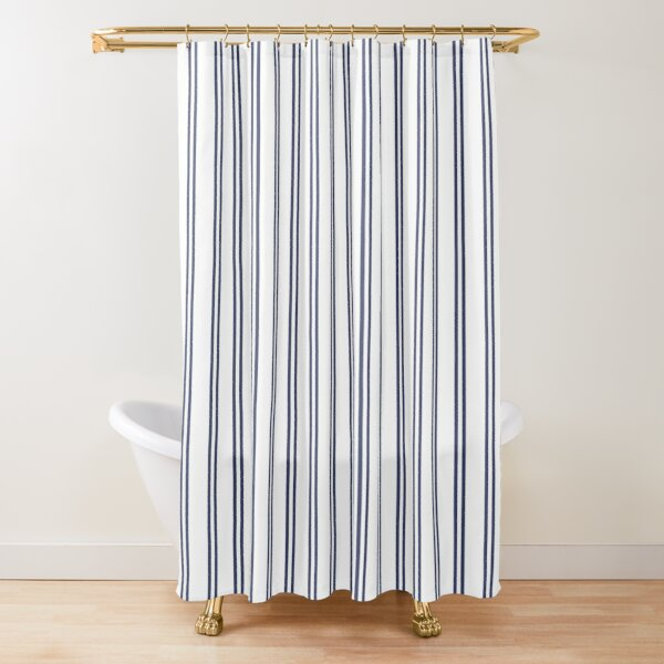 White And Navy Double Stripes Shower Curtain