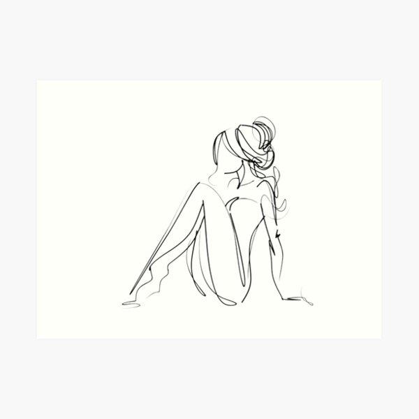 One Line Women Body Art Art Print