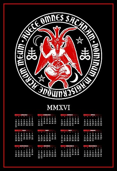 2016 Satanic Baphomet Calendar by TropicalToad