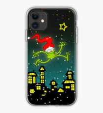 Christmas Frog Jumping out of Joy! iPhone Case