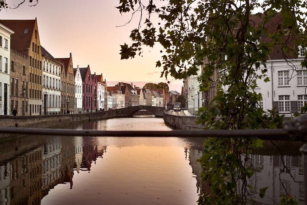 sunset over bruges by friedrichredcat