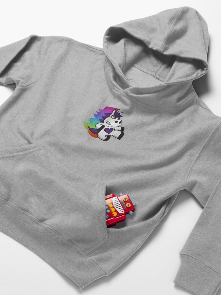 Alternate view of Rainbow Slasher the Unicorn Kids Pullover Hoodie