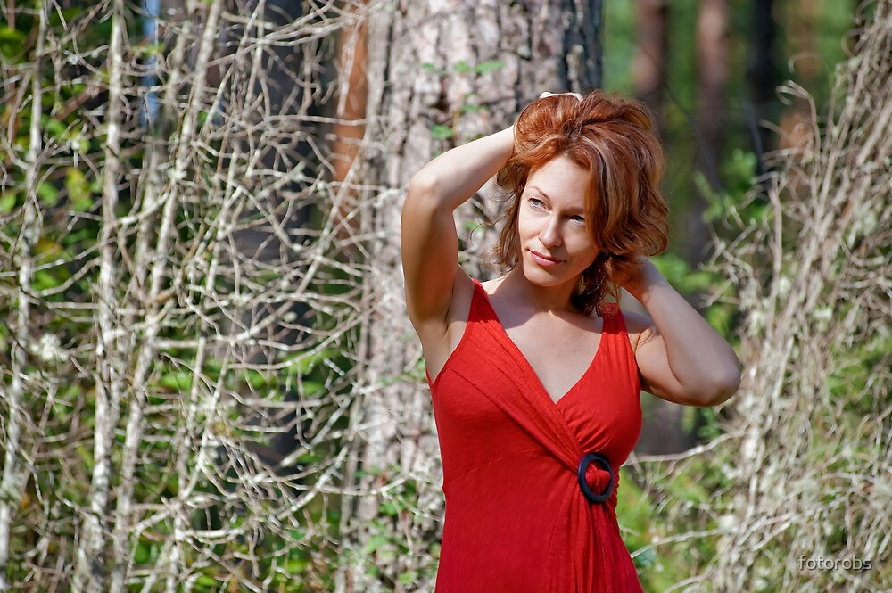Portrait of woman in nature by fotorobs